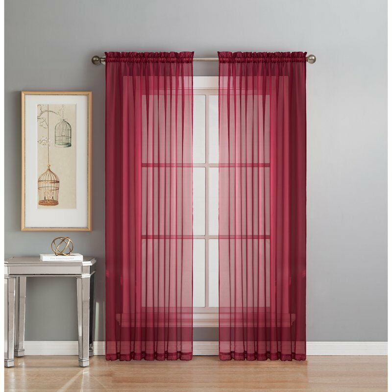 "2Pc Sheer Voile Window Panel curtains DRAPE 63"" ,84 ,95"" or 1Pc SCARF MANY COLOR"