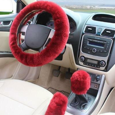 (3 Pcs Steering Wheel Cover For Women Sets Wool Plush Hand Brake+Stop Lever Cool)