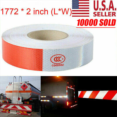 """2""""x150 Dot-C2 PREMIUM Reflective Red and White Conspicuity Tape Trailer USA"""