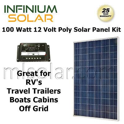 Pv Solar Kit  100 W Watt 100Watts Pv Solar Panel 12V Rv Boat   Charge Controller