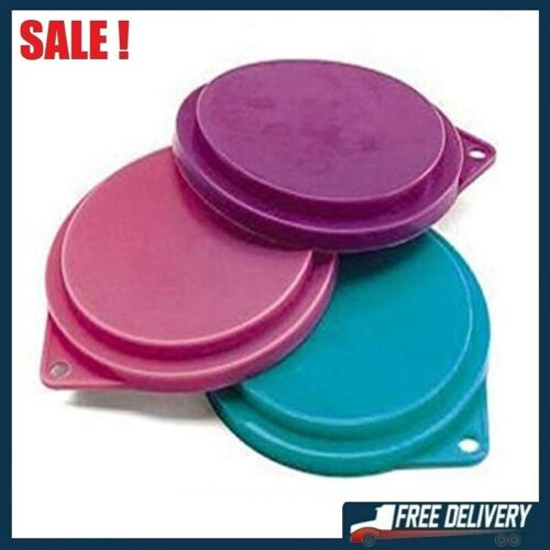 Pet Food Can Covers Assorted Colors 3-1/2 Inches Dogs Cats Pets Lids Set Of 3