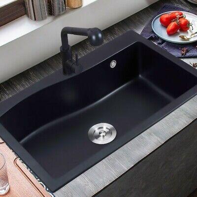 "Black 30"" Granite Kitchen Sink Quartz Drop-in Sink Single Bowl Sink with Drain"