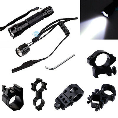 - Tactical T6 LED 1000LM Flashlight Torch with 2 in1 Remote Pressure Switch Mount