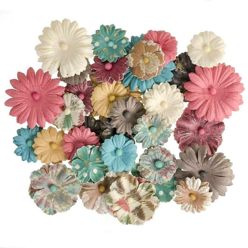 Darice 36 pc Button DAISY PRINTED MIX Floral Embellishment Flowers 30062057