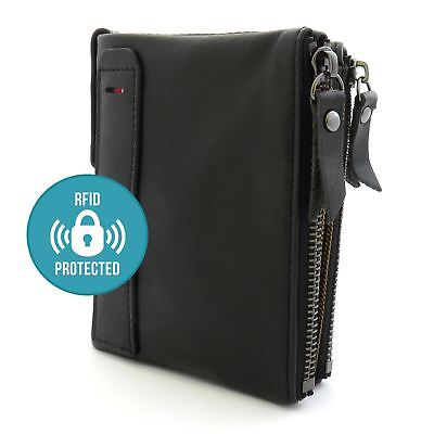 Mens Black 100% Genuine Soft Leather Wallet Card Holder with Zip RFID Protection
