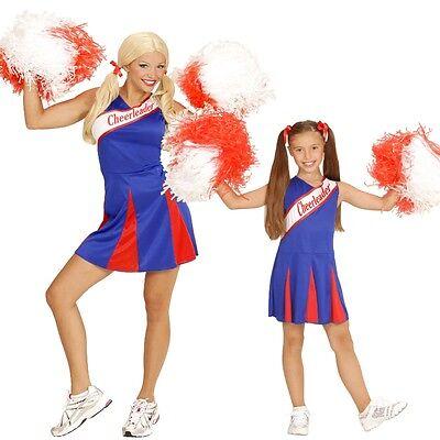 Damen Kinder Cheerleader Kleid Sport Kostüm blau-rot Gr. 104 cm bis Gr. 44 (Kinder Sport Kostüme)