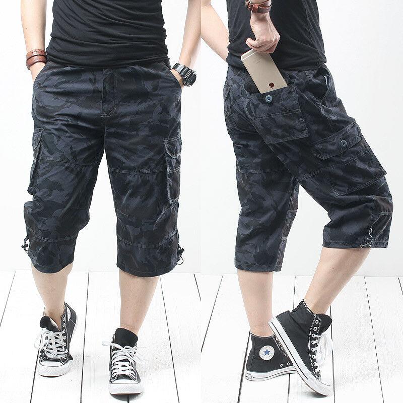 NiSengs Hommes Multi-Poches Casual Shorts Capri Pantalons Vintage Combat Shorts Coupe Ample Short Ne Comprend Pas Les Ceintures