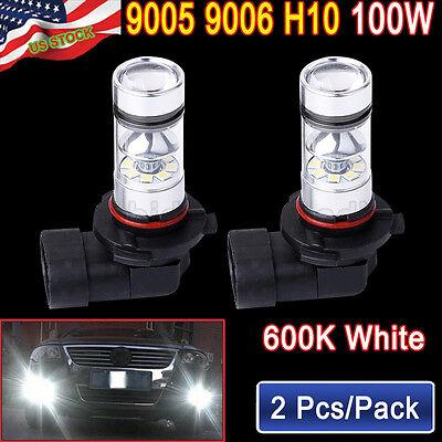 2X 9005 HB3 H10 6000K 100W LED HID White Samsung2323 Fog Driving DRL Light Bulbs