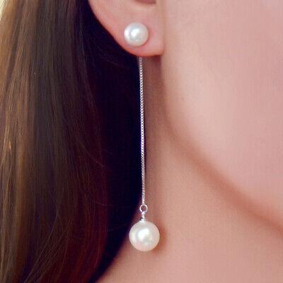 Womens Charm Silver Pearl Long Chain Tassel Drop Dangle Earrings Fashion Jewelry ()