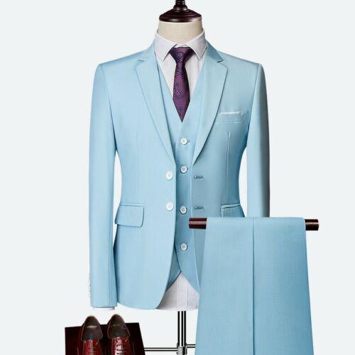 Men 3PCS Suits Wedding dress Business Slim Fit Western Style Formal Dress Blazer