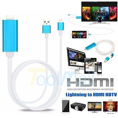 8 Pin To AV HDMI/HDTV TV Cable Adapter for Apple iphone 5 5S 6 6S 6 7 plus Blue