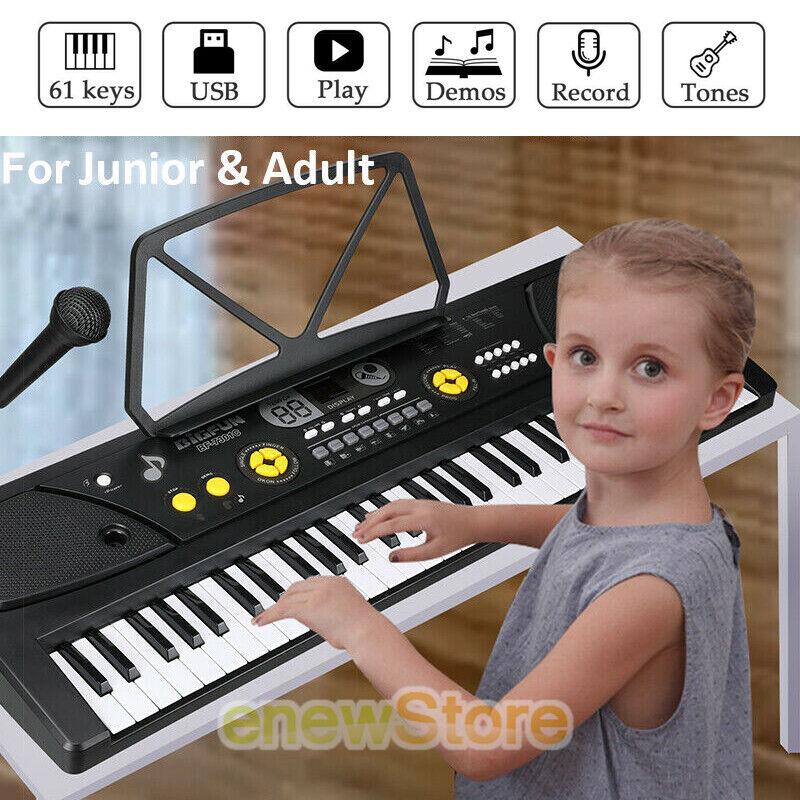61 Key Music Digital Electronic Keyboard Electric Piano Organ with Mic & Stand