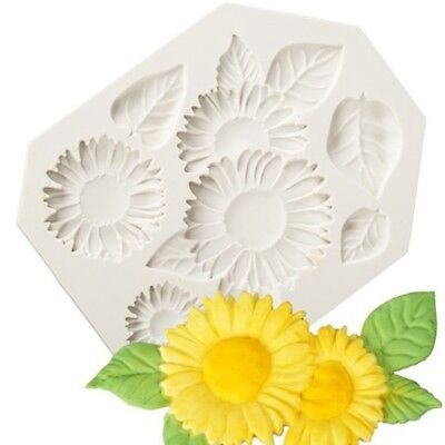 Sunflower Cake Decorations (Silicone Mold Sunflower Cake Mould 3D Fondant Jelly Fashion DIY Decorating)