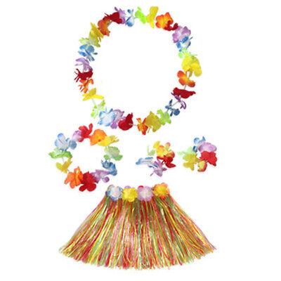 Kinder Hula Gras Rock Hawaii Kostüm Kostüme Kopfband Lei Set