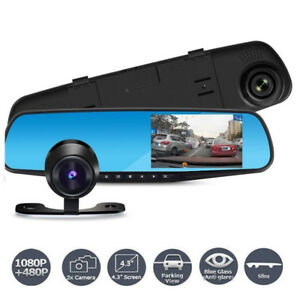 1080P Dual Lens Car Rearview Mirror Gravity Sensor HD Dash  Cam