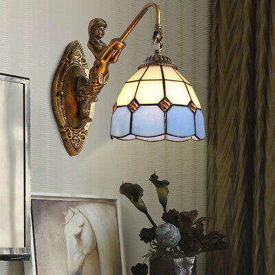 Tiffany Wall Sconces  Stained Glass Shade Lighting Lamp Mermaid Indoor Fixture ()