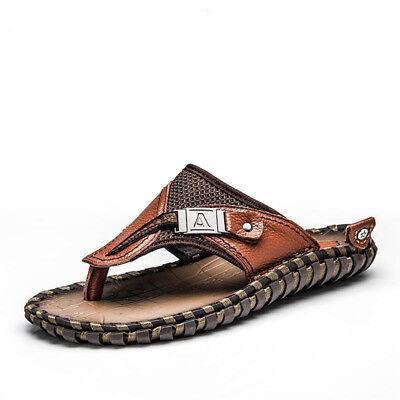 Men's Genuine Leather Luxury Shoes Summer Slippers Beach Sandals Flip Flops New ()
