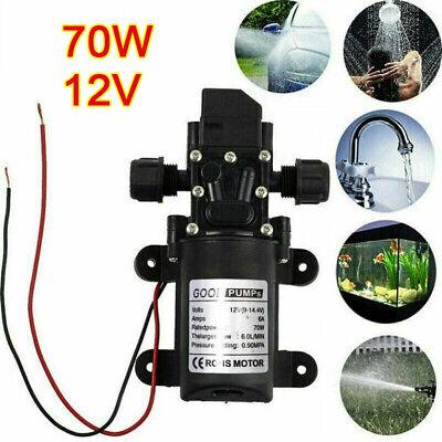 70W 12V Water Pump High Pressure Diaphragm SelfPriming 130PSI 6L/Min RV Caravan