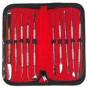 10pcs Stainless Steel Wax Carving Teeth Tool Set Dentist Surgical Dental Lab Kit