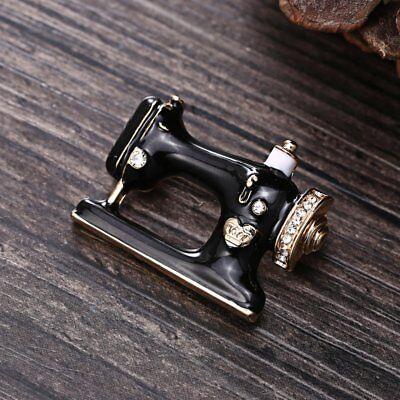 Fashion Black Sewing Machine Crystal Brooch Pin Spring Women Costum Jewelry Gift
