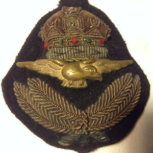 WWII ROYAL PILOT BULLION CAP INSIGNIA WITH KING'S CROWN CANADA