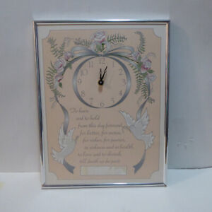 WEDDING VOWS WALL CLOCK WITH AREA FOR COUPLE'S NAMES