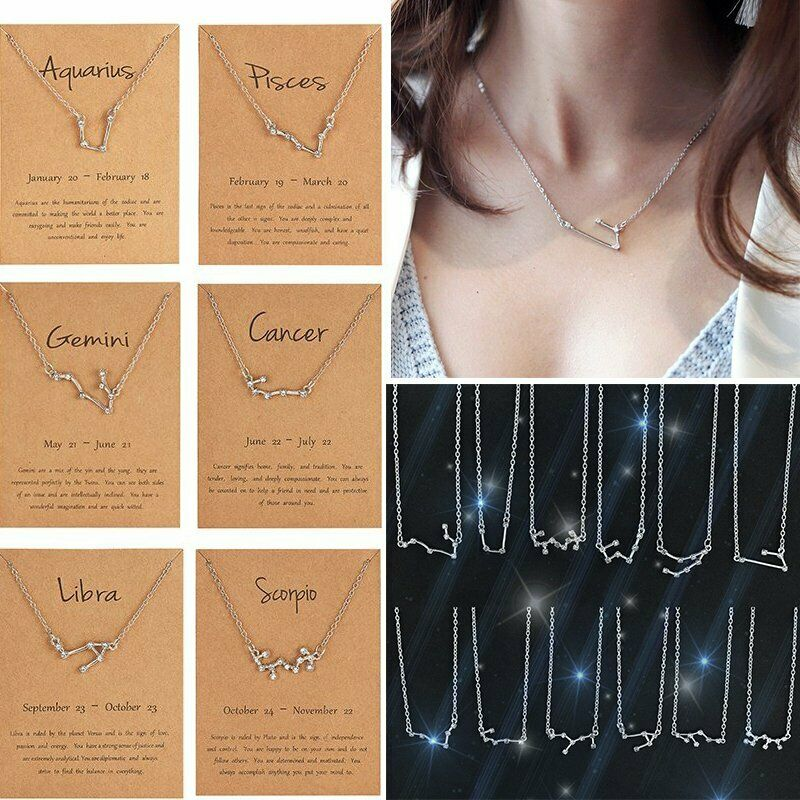 Silver Star Zodiac Sign 12 Constellation Necklace Pendant Wo
