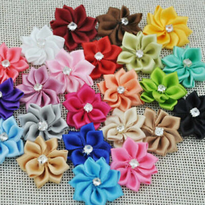 10/50P Mini Satin Ribbon Flowers Rhinestone Bows Appliques DIY Craft Decor - Diy Ribbon Flowers
