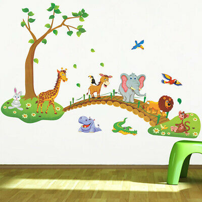 Home Decoration - 3D Cartoon Jungle Wild Animal Wall Stickers Decal for Kid Living Room Home Decor