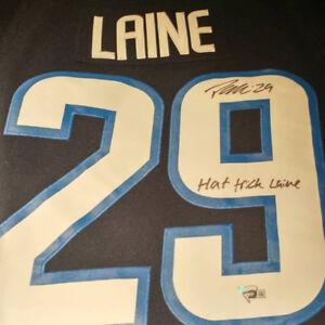 Patrik Laine signed Adidas Jets jersey with inscriptions. 724784a91