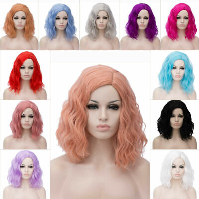 Lady Women Lolita Wavy Wigs Party Synthetic Short Curly Hair Cosplay Anime Wig