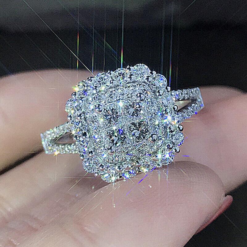 Jewellery - Gorgeous 925 Silver Wedding Rings Women Jewelry White Sapphire Rings Sz 6-10