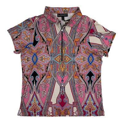 Birdee Sport Womens Golf Polo Shirt Pink Black Paisley 1/2 Zip Stretch XL New
