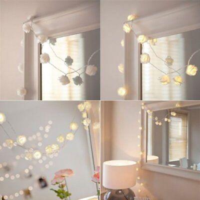 20LED Fairy String Light Party Wedding Decoration Rose Flower Room Decor 2m USA