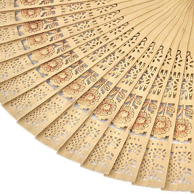 Chinese Folding Bamboo Original Wooden Carved Hand Fan Pop  ~