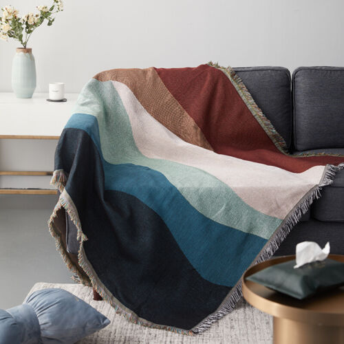 Large -XXL Green Abstract Wavy Mountain Cotton Throw Decorative Blanket Tapestry
