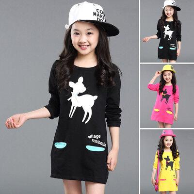Mode Herbst Kinder Mädchen Casual Cute Langarm Rundhals Kurzes Kleid Neu