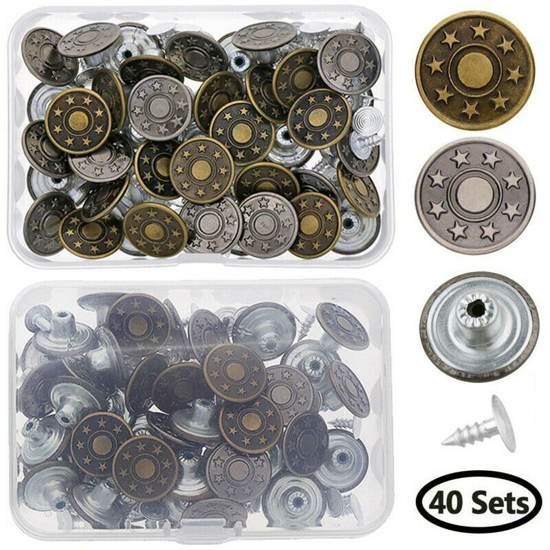 40 Sets Jeans Metal Snap Buttons Replacement Kit with Rivets/&Storage Box 17mm