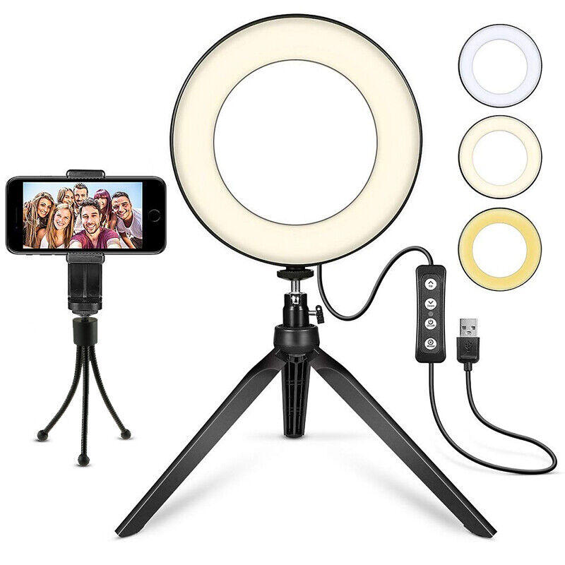 "LED Ring Light 6"" with Tripod Stand for YouTube Video Makeup Cell Phone Holder"