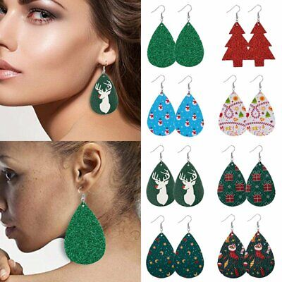 Christmas Tree Elk Snowflake Teardrop Leather Earrings Ear Hook Drop Dangle