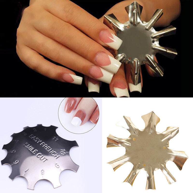 Easy French Smile Line Edge Cutter Stencil Trimmer Nail Art Manicure Template