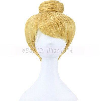 Adult Tinkerbell Wig (3-7 Day Ship Women's Cosplay Wig with Hair Bun Updos Tinker Bell Straight)