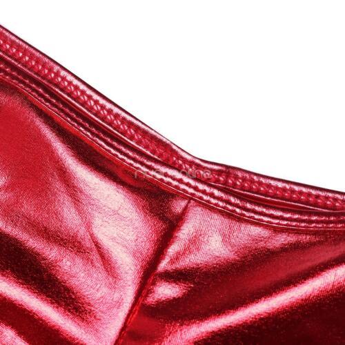 Damen Lack Leder Bodyshorts Dessous Wetlook Kurze Höschen Pants Unterwäsche Sexy