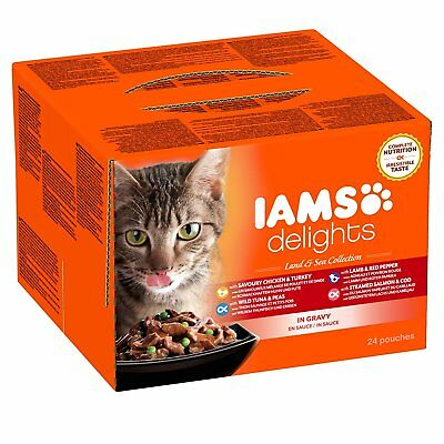 Iams Wet Cat Food Delights Meat and Fish in Gravy, land and Sea Collection, 24 x