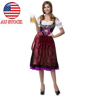 Traditional Bavarian Costume German Oktoberfest Dirndl 3pcs set Beer Maid Wench](Bavarian Beer Maid Costume)