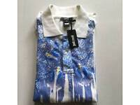 Men's Just Cavalli Polo Designer Shirt Short Sleeved White with Blue Yellow Detail Size M