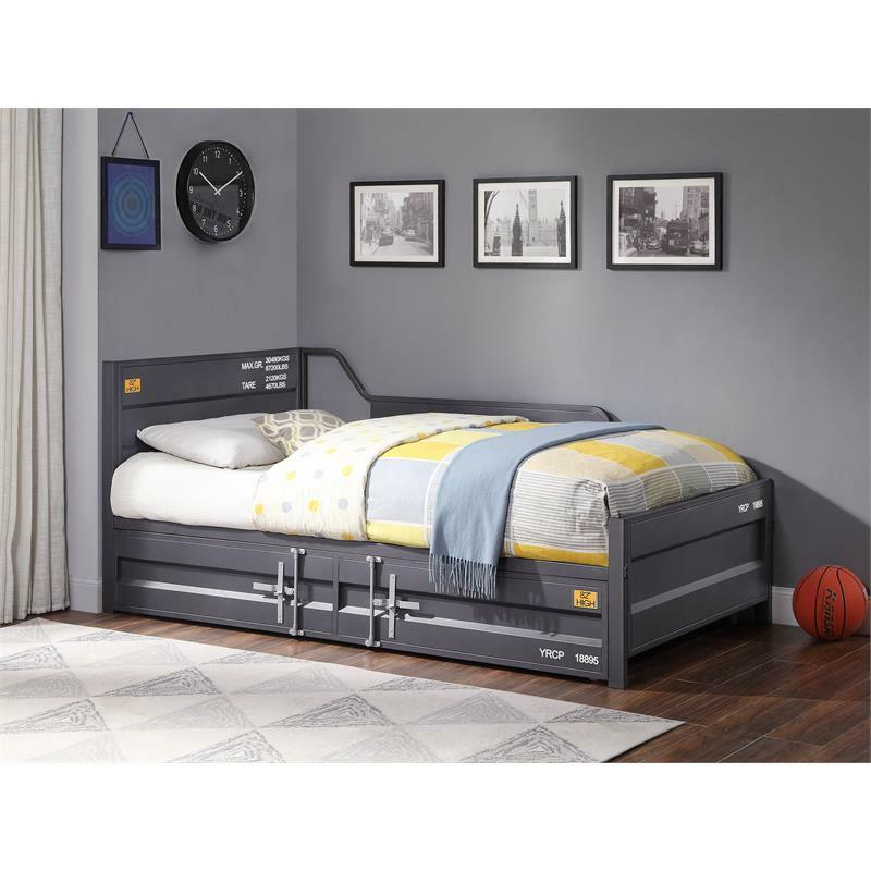 Bowery Hill Twin Metal Daybed and Trundle in Gunmetal