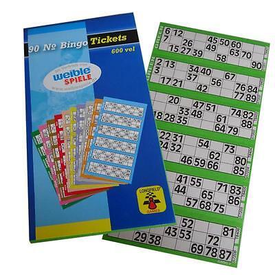 Bingo Spiel Karten Bingokarten Ticket-Block mit je 600 Scheinen 1-90 Zahlen