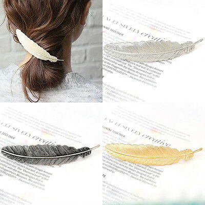 1* Festival Bridal Leaf Feather Hair Pin Clip Dress Snap Barrette Hair Accessory