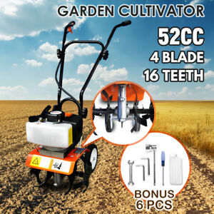 52cc Petrol Commercial Garden Tiller 2-Stroke Engine Cultivator Rotavator Soil